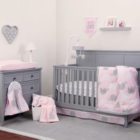 Nojo Dreamer Elephant 8-Piece Crib Bedding Set in Pink/Grey