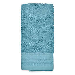 Mesa Chevron Fingertip Towel in Aqua