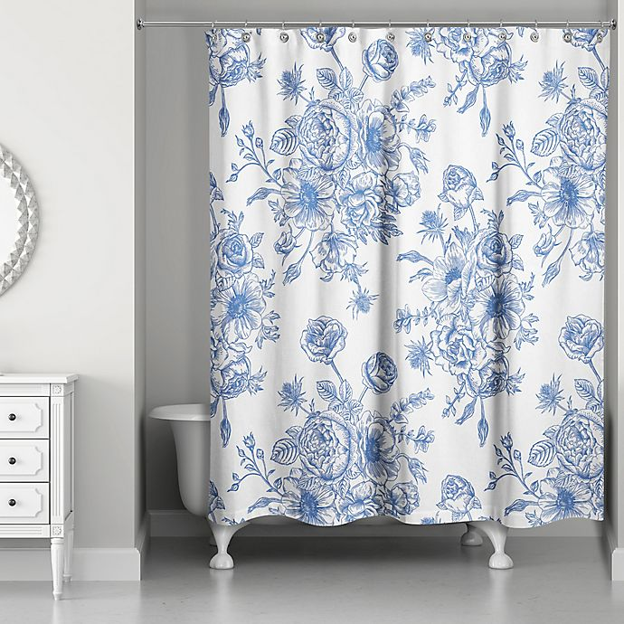 Designs Direct Vintage Rose Shower Curtain In Blue