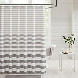 Madison Park Aviana Stripe Woven Shower Curtain in Grey