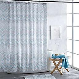 Mesa Chevron Shower Curtain in Aqua