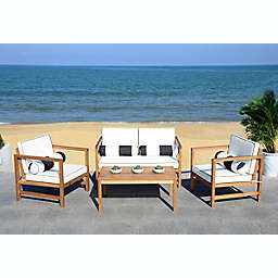 Safavieh Montez 4-Piece Outdoor Conversation Set with Cushions in Black/White