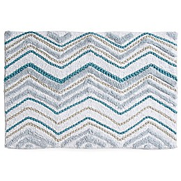 "Mesa Chevron 20"" x 30"" Bath Rug in Aqua"