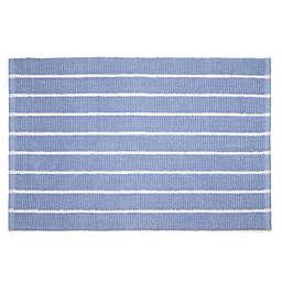 "Calvin Klein Eileen 21"" x 34"" Bath Mat in Blue/White"
