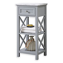 Carrara Marble 2-Shelf Floor Cabinet in Grey