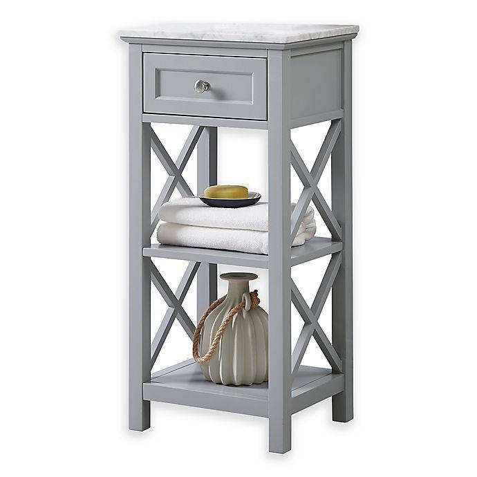 Alternate image 1 for Carrara Marble 2-Shelf Floor Cabinet in Grey