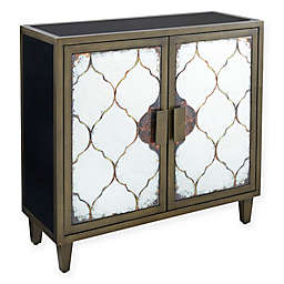 Madison Park Beaton Mirrored 2-Door Accent Chest in Bronze/Black