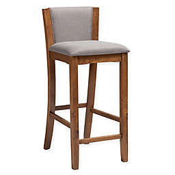 Baxton Studio® Polyester Upholstered Farley Bar Stool in Gray/walnut