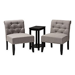 Baxton Studio® Polyester 3 Piece Set Upholstered Dirk Chairs