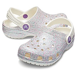 Crocs™ Classic Glitter Kids' Clog in Oyster