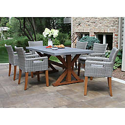 Outdoor Interiors® Composite 7-Piece Outdoor Dining Set with Chairs in Grey/Brown