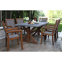 Outdoor Interiors® Composite 7-Piece Outdoor Dining Set with Wicker Chairs in Grey/Brown