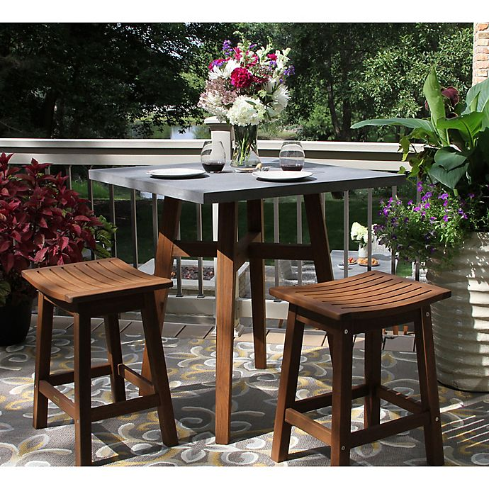 Alternate image 1 for Outdoor Interiors® 3-Piece Counter Height Composite Table with Stools in Brown/Grey