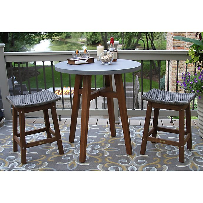 Alternate image 1 for Outdoor Interiors® 3-Piece Counter Height Composite Table with Wicker Stools in Brown/Grey