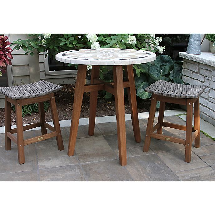 Phenomenal Outdoor Interiors 3 Piece Counter Height Marble Table With Frankydiablos Diy Chair Ideas Frankydiabloscom
