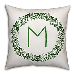 Designs Direct St. Patrick's Clover Initial Square Throw Pillow