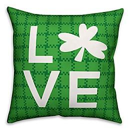 Designs Direct St. Patrick's Plaid Clover Love Square Throw Pillow