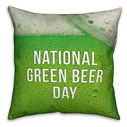 Designs Direct St. Patrick's National Green Beer Day Square Throw Pillow