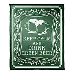 Designs Direct St. Patrick's Keep Calm and Drink Green Beer Throw Blanket