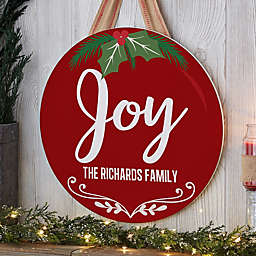 Holiday Ornament Personalized Round Wood Sign