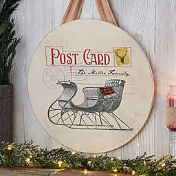 Postcard Christmas Sleigh Personalized Wood Round Sign