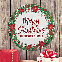 Holiday Wreath Personalized Round Wood Sign