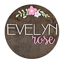 Polymath Mom Dark Pink/White Floral Arch NameRound Wood Wall Art