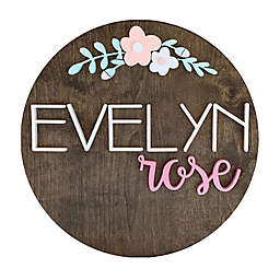 Polymath Mom Light Pink/White Floral Arch Name Round Wood Wall Art
