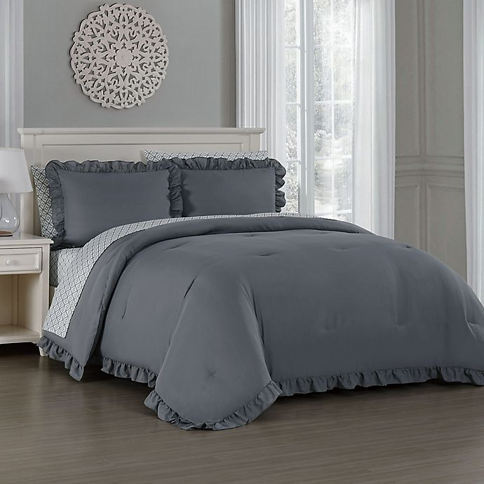 Alternate image 1 for Melody 7-Piece Queen Comforter Set in Grey
