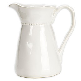 Modern Farmhouse Home Organic Bead Pitcher in White