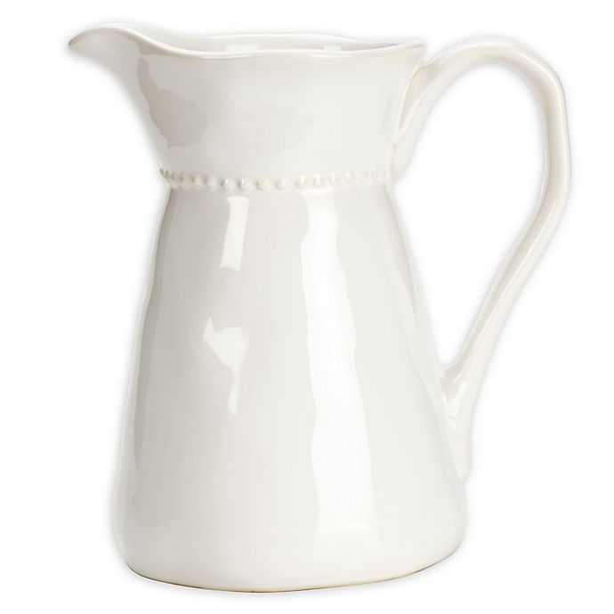 Alternate image 1 for Modern Farmhouse Home Organic Bead Pitcher in White