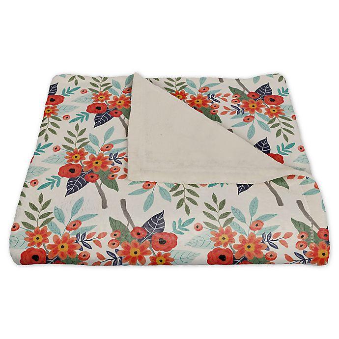 Alternate image 1 for Designs Direct Floral Fleece Throw Blanket in Orange