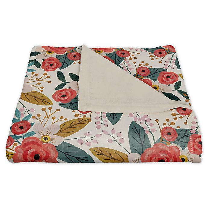 Alternate image 1 for Designs Direct Floral Fleece Throw Blanket in Blush