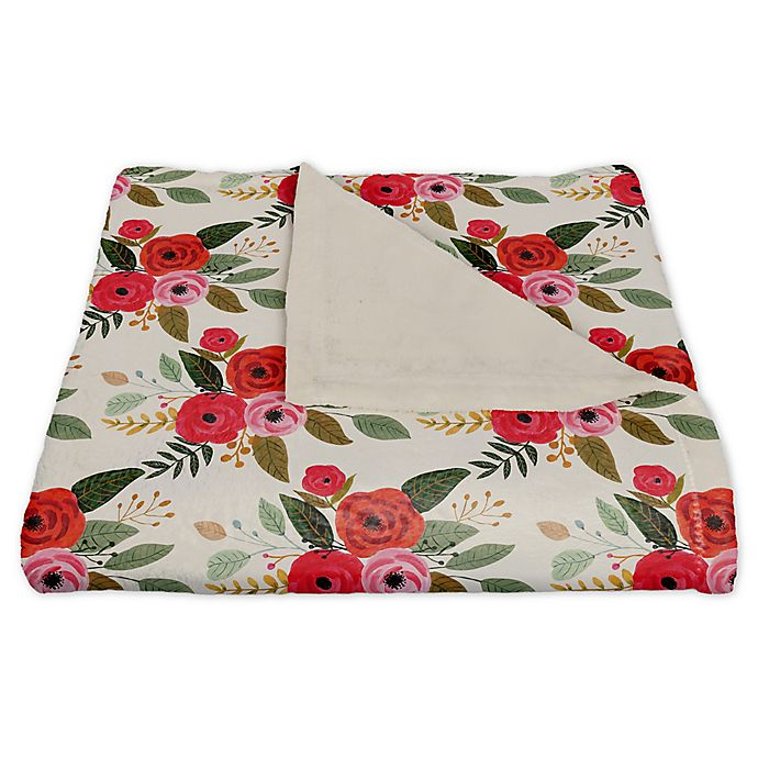 Alternate image 1 for Designs Direct Floral Fleece Throw Blanket in Red