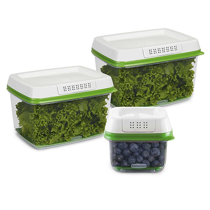Alternate image 1 for Rubbermaid® FreshWorks™ 6-Piece Produce Saver Set in White