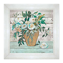 Vase of White Roses on Wood 19.75-Inch Framed Wall Art