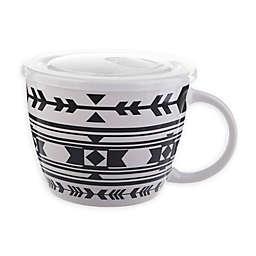 Geometric Pattern 26 oz. Soup Mug with Lid