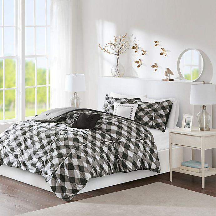 Alternate image 1 for Intelligent Design Kelsie 5-Piece Reversible Full/Queen Comforter Set in Black/Grey