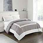 Finely 5-Piece Reversible Queen Comforter Set in Grey