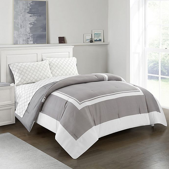 Alternate image 1 for Finely 5-Piece Reversible California King Comforter Set in Grey
