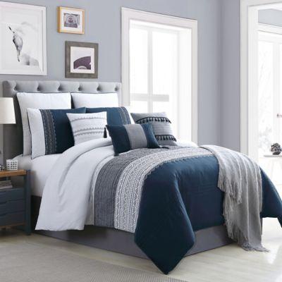 Hilden 10 Piece Comforter Set Bed, Blue Gray Bedding