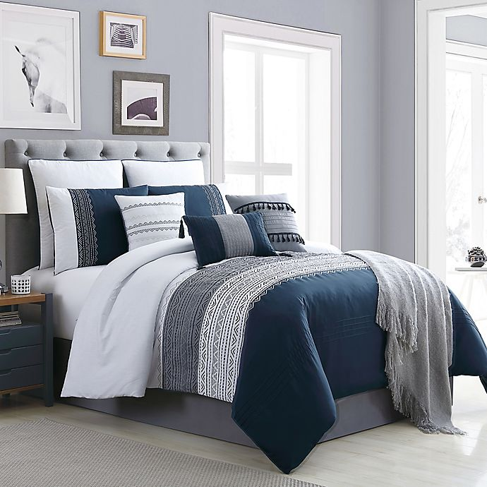 Alternate image 1 for Hilden 10-Piece Queen Comforter Set in Navy/Grey