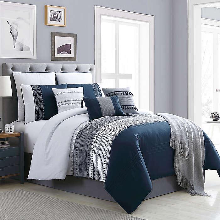 Set de edredón king de poliéster Hallmart Collectibles Hilden color azul