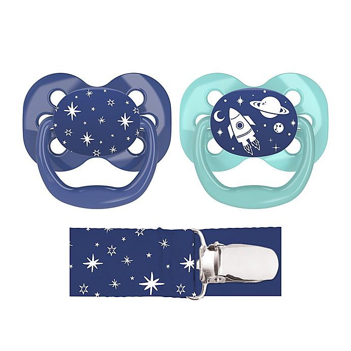 Alternate image 1 for Dr. Brown's® Advantage 2-Pack Stage 1 Pacifiers with Clip in Blue