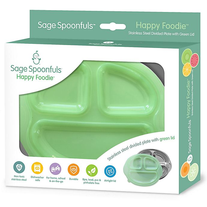 Alternate image 1 for Sage Spoonfuls® Happy Foodie Stainless Steel Plate