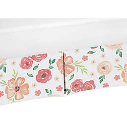 Sweet Jojo Designs Watercolor Floral Crib Skirt in Peach/Green