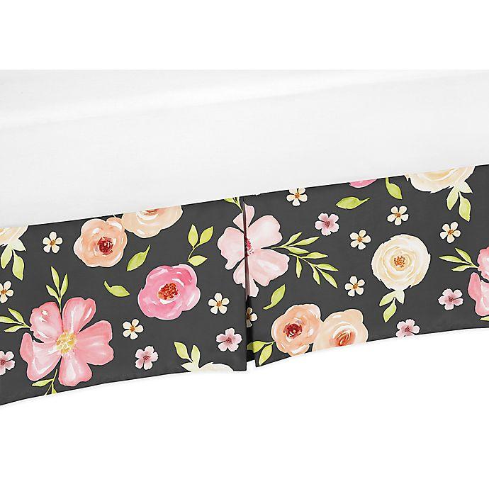 Alternate image 1 for Sweet Jojo Designs® Watercolor Floral Crib Skirt in Black/Pink