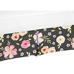 Sweet Jojo Designs® Watercolor Floral Crib Skirt in Black/Pink
