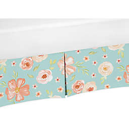 Sweet Jojo Designs Watercolor Floral Crib Skirt in Turquoise/Peach