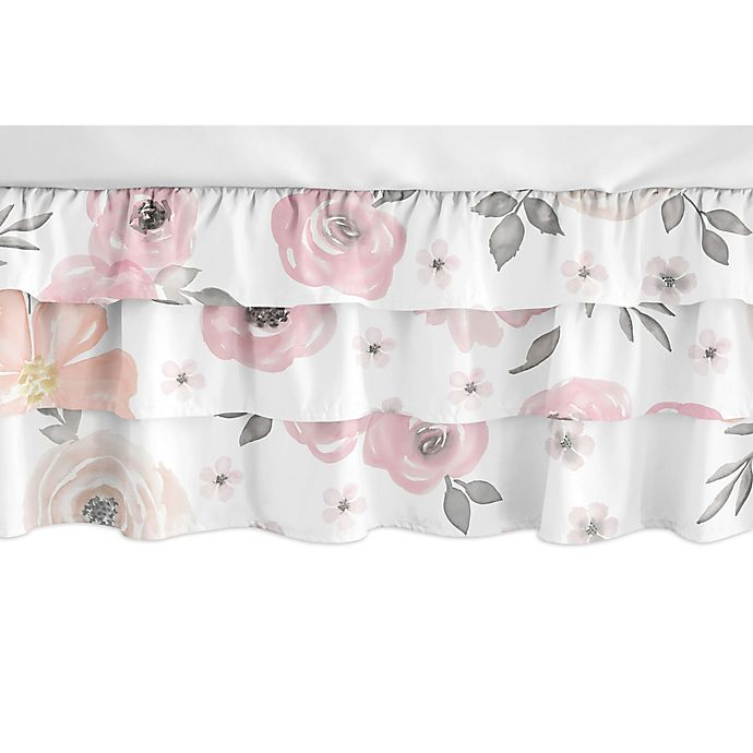 Alternate image 1 for Sweet Jojo Designs® Watercolor Floral Crib Skirt in Pink/Grey
